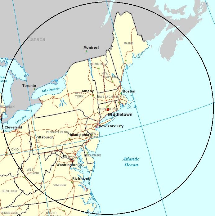 Middletown Map of 500 Mile Radius