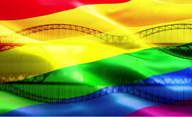 Pride Flag Over Arrigoni Bridge
