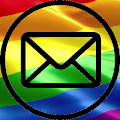 Email Icon over Pride Flag