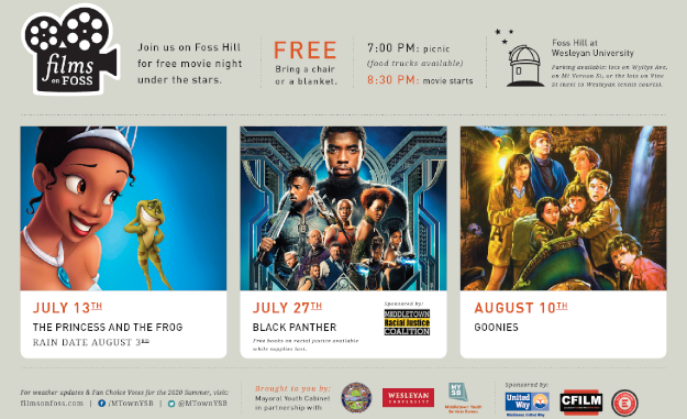Poster for Films on Foss, featuring The Princess and the Frog, Black Panther, and Goonies