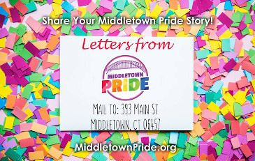 Text reading Share Your Middletown Pride, Mail To: 393 Main Street Middletown, CT 06457 MiddletownPr