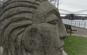 Stone face looking over the Connecticut River