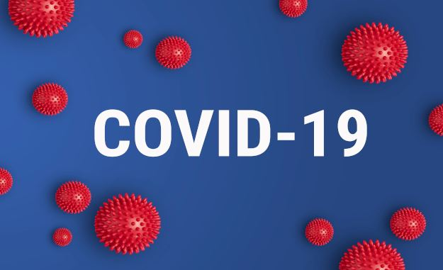 Covid-19 Virus with the words Covid-19 behind it