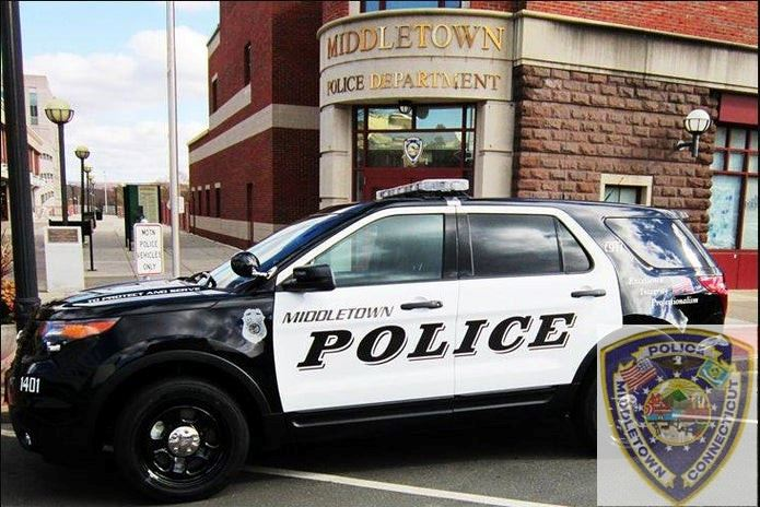 Middletown Police Department cruiser in front of the police department building