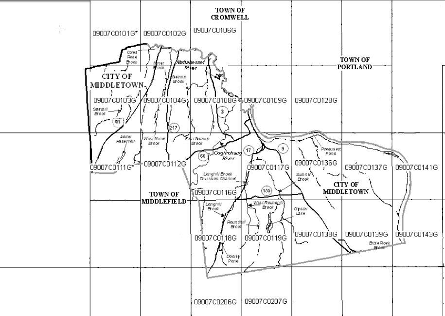 2008 Middletown FEMA Flood Area Map