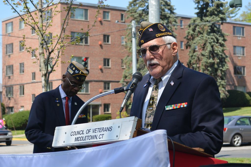 Veteran Speaking at Podium at the Council of Veterans Middletown, CT
