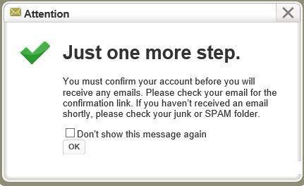 Screen Shot of Notify Me email confirmation